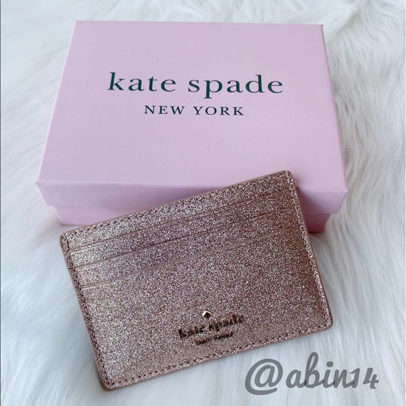 NWT Kate Spade Glitter Card Case with Gift Box